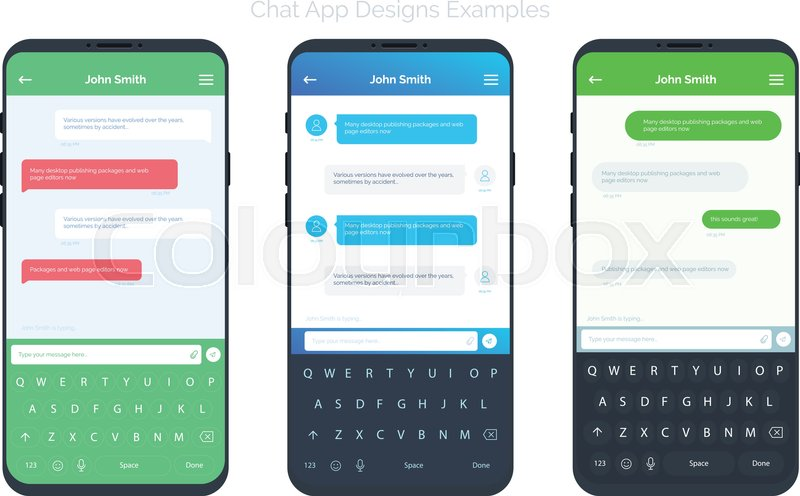 Set Of Social Network Chat Window Concepts With Different App Design Ideas.  Chatting And Messaging UI And UX App Mobile Screens. Vector Design Elements  For ...