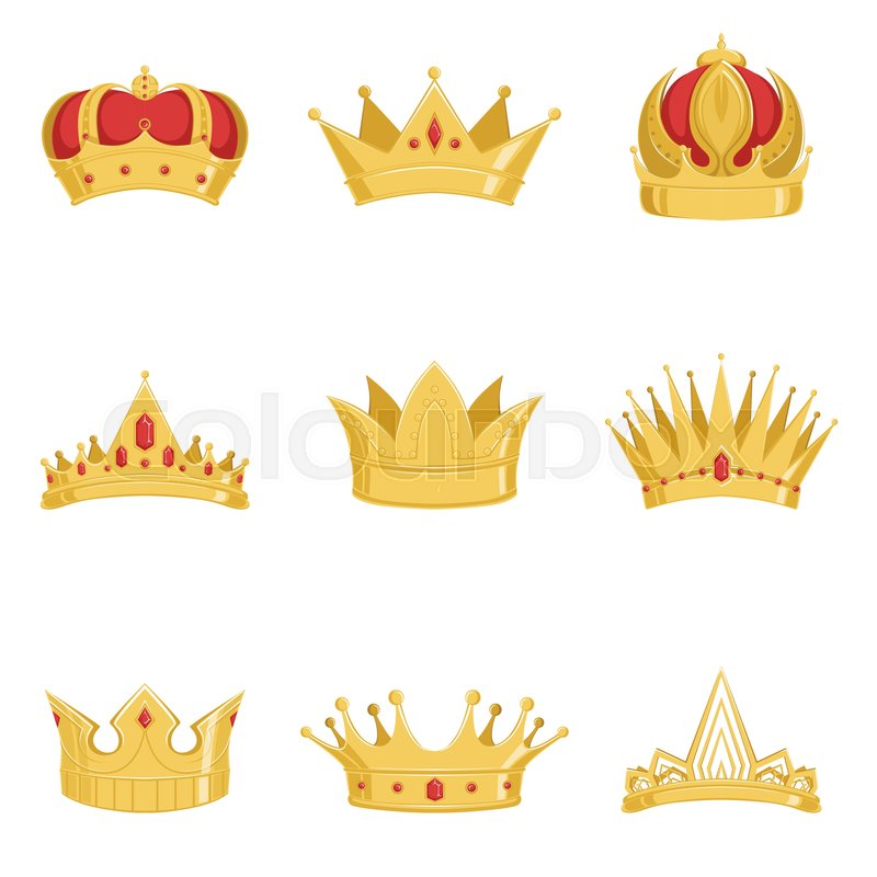 Royal Golden Crowns Set Symbols Of Power Of The King And Queen