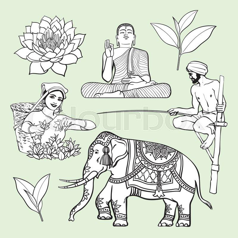 Sri Lanka Country Symbol Set Water Lily Buddha Statue Elephant