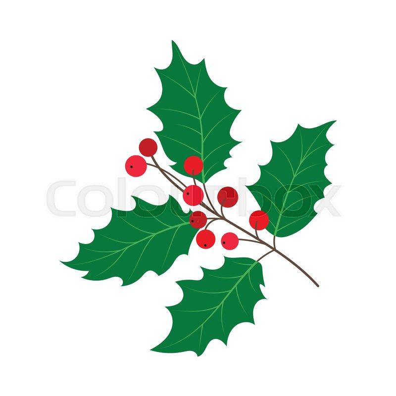 Christmas Holly Cartoon.Vector Flat Cartoon Style Holly Tree Stock Vector