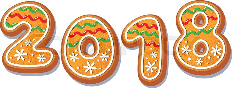 gingerbread 2018 numbers vector isolated illustration on a white background new year 2018 baked candy numbers cartoon sweet cake