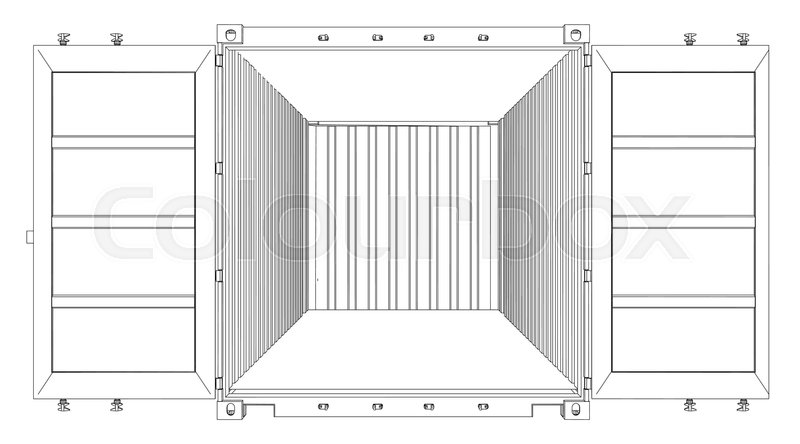 Open Empty Cargo Container. Wire-frame style. Vector rendering of 3d ...