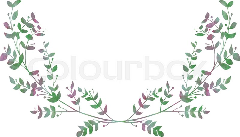 Drawn Watercolor Greenery Laurels Vector Illustration Drawing Isolated Clip Art Hand Image Branches Leaves