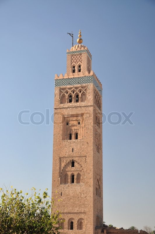 koutoubia mosque in marrakech morocco stock photo. Black Bedroom Furniture Sets. Home Design Ideas