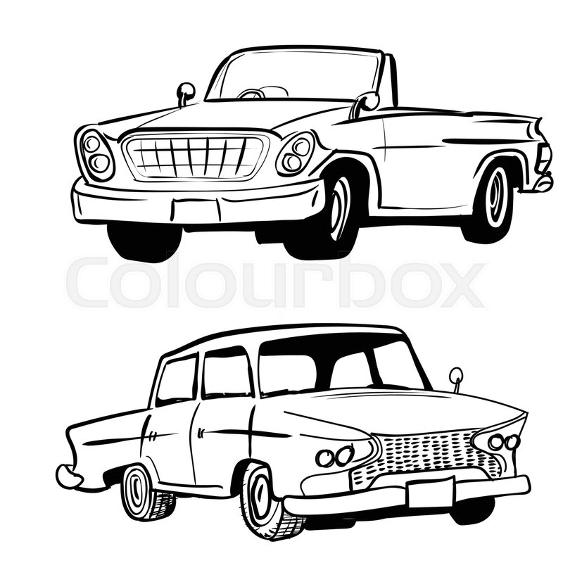 Hand drawn sketch of classic car, vintage car, transport or vehicle ...