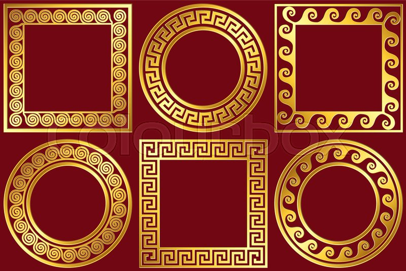 Set golden round and square frames with traditional vintage Greek ...