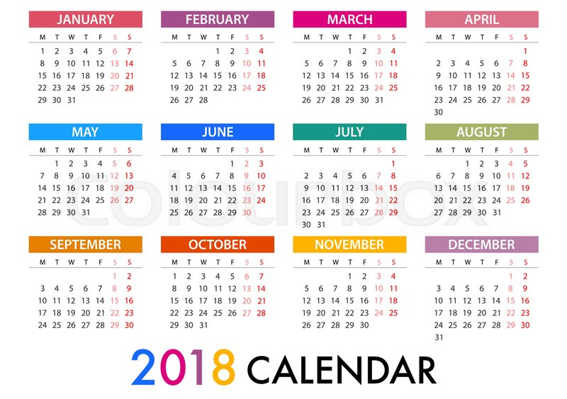 calendar for 2018 on white background for organization and business