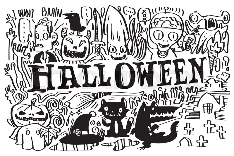 Vector Ghosts And Monsters Of Gang Halloween Doodle Characters Design