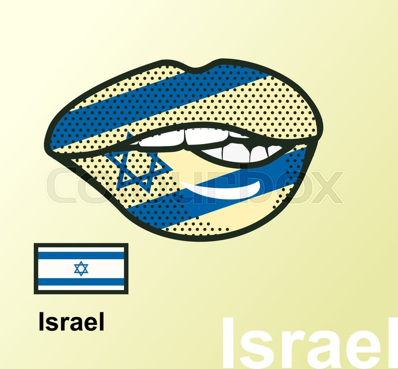 Vector Illustration Of Lip Painted Israel Flag Isolated Foreign