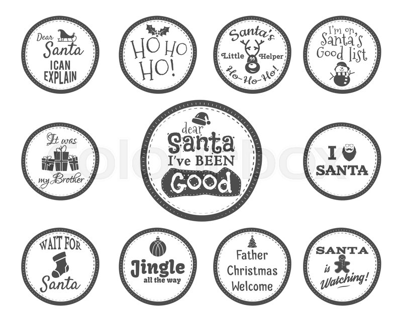 christmas badge and design elements with funny signs quotes for kids monochrome new year labels liday elements collection isolated on white background