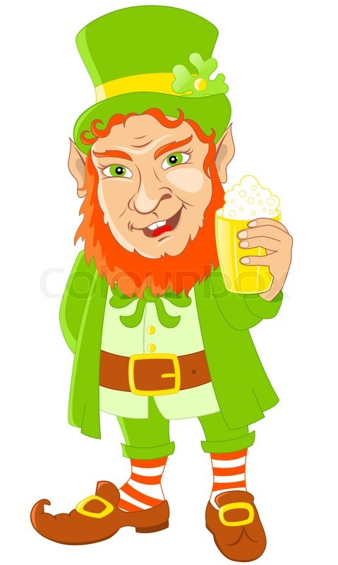 Leprechaun With Mug Of Beer For St Patricks Day Stock Vector