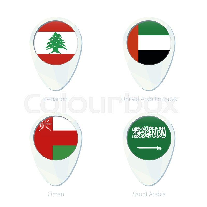 Lebanon United Arab Emirates Oman Saudi Arabia flag location map
