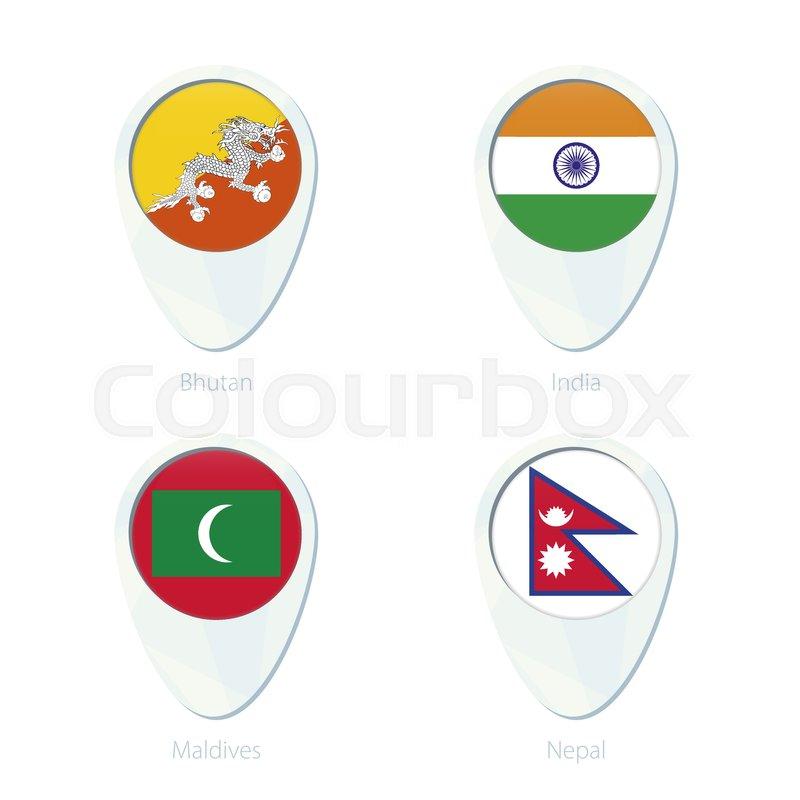 Bhutan, India, Maldives, Nepal flag location map pin icon. Bhutan ...