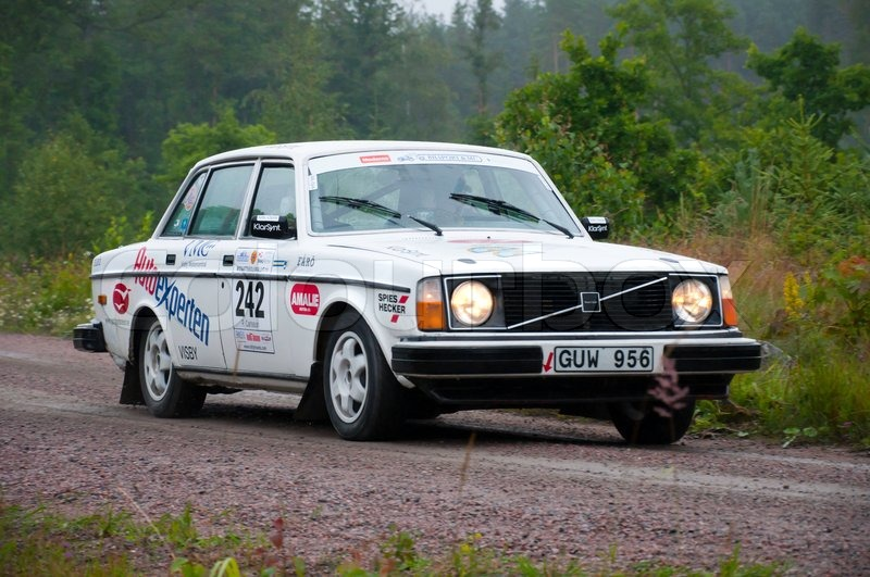 Volvo 244 from 1975 in a rally   Stock Photo   Colourbox