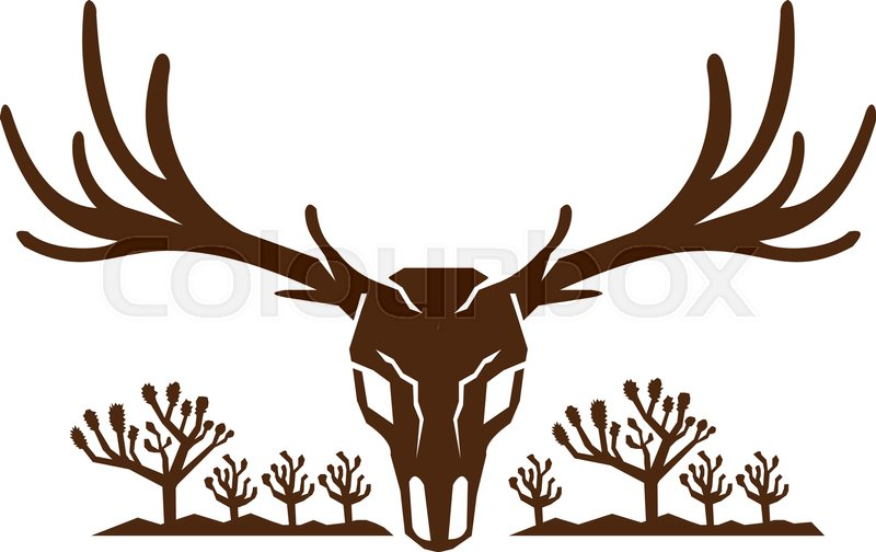 Icon Style Illustration Of Mule Deer Skull Viewed From Front With