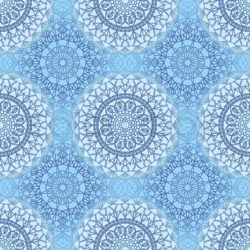 Seamless Boho Syle Pattern With Crochet Lace Round Motifs Stock