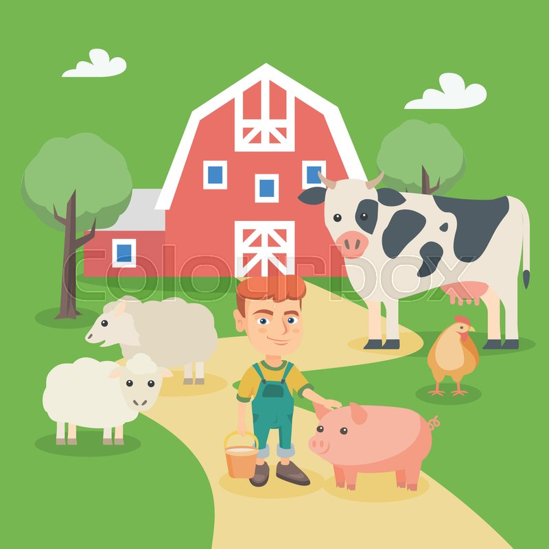 Smiling Farm Boy Holding A Bucket While Standing With Pig Sheep Cow And Chicken In The Vector Sketch Cartoon Illustration Square Layout
