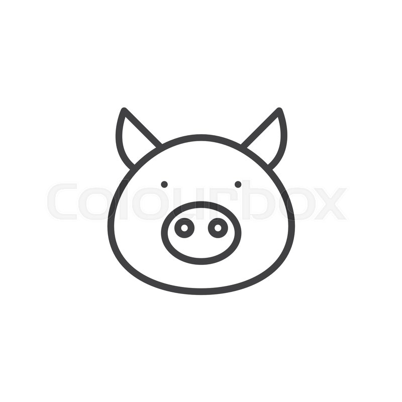 pig head line icon, outline vector ... | stock vector | colourbox  colourbox