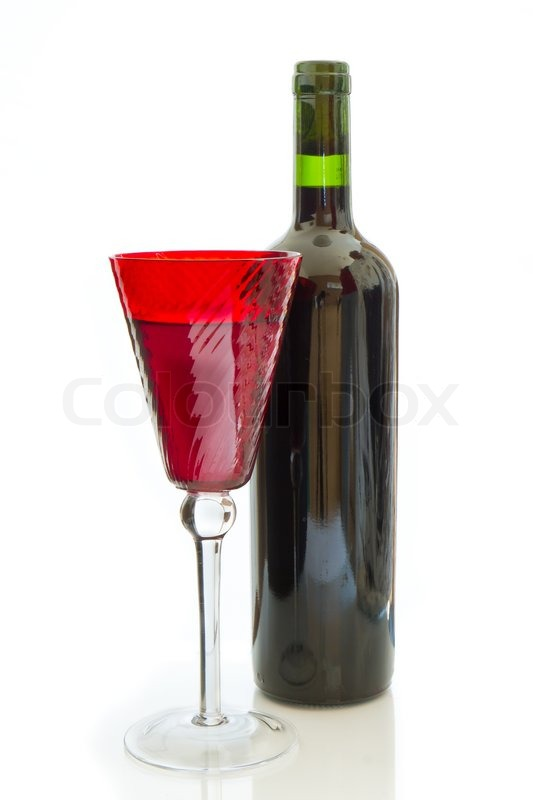 Red wine bottle with glass isolated stock photo colourbox for Red glass wine bottles suppliers