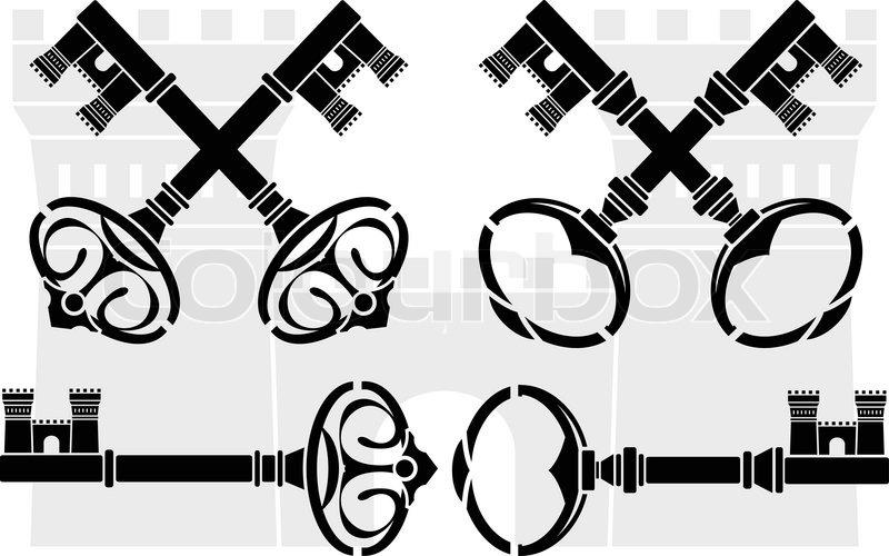 mittelalterliche schl ssel und schloss vektorgrafik. Black Bedroom Furniture Sets. Home Design Ideas
