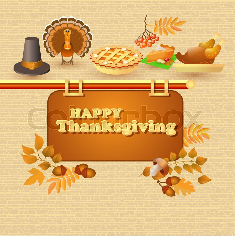 Happy Thanksgiving Card Autumn And Thanksgiving Food And Symbols