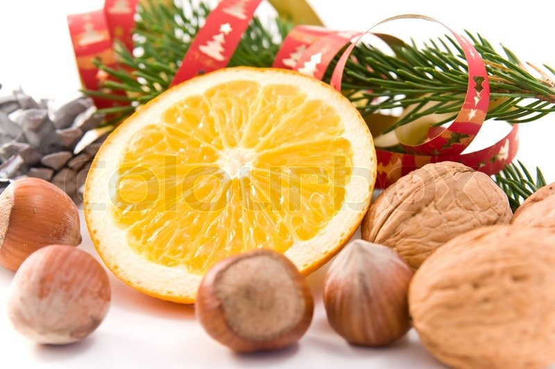 Christmas decoration with orange and nuts stock photo for Baking oranges for christmas decoration