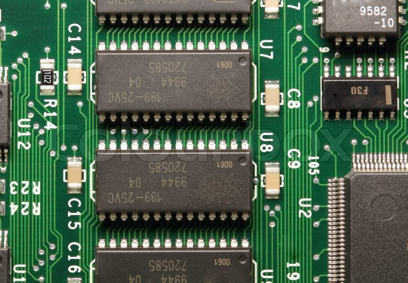 The printed circuit-board with chip and     | Stock image