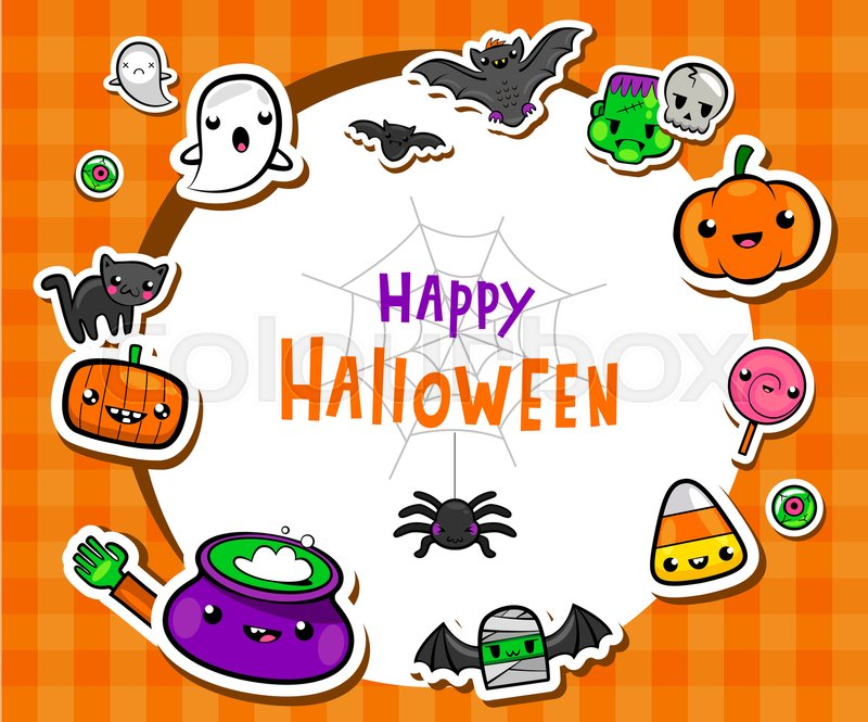 Halloween Frame With Cute Symbols In Lovely Kawaii Style Vector