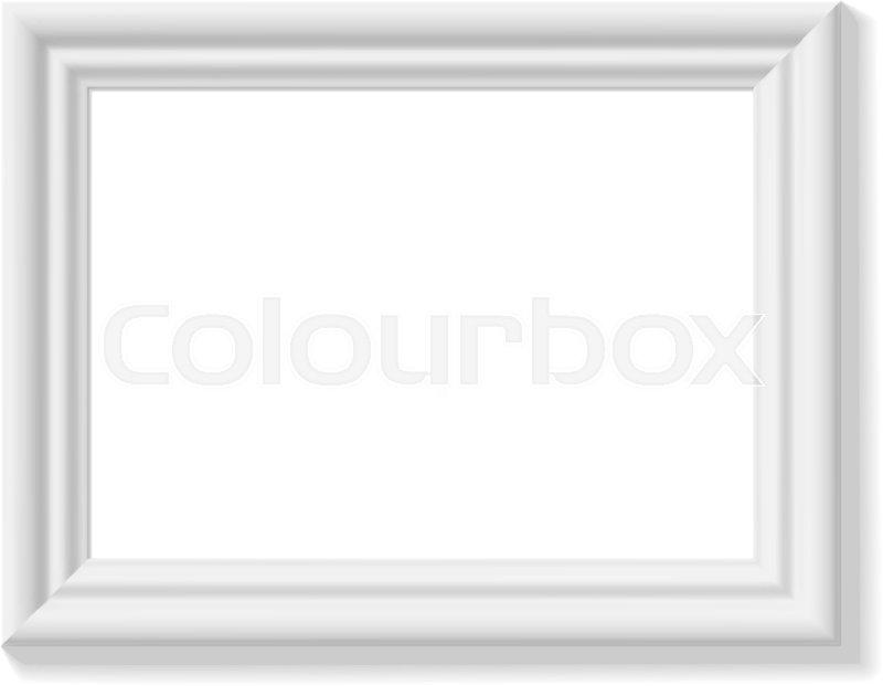 White picture frame. Landscape orientation. Minimalistic detailed ...