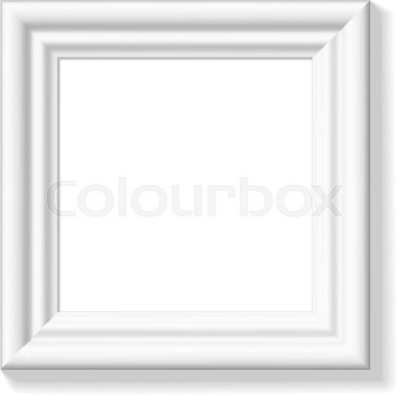 White square picture frame. Wide frame or small picture ...