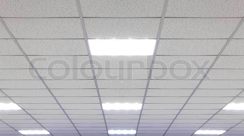 Office Ceiling With LED Fixtures, Stock Photo