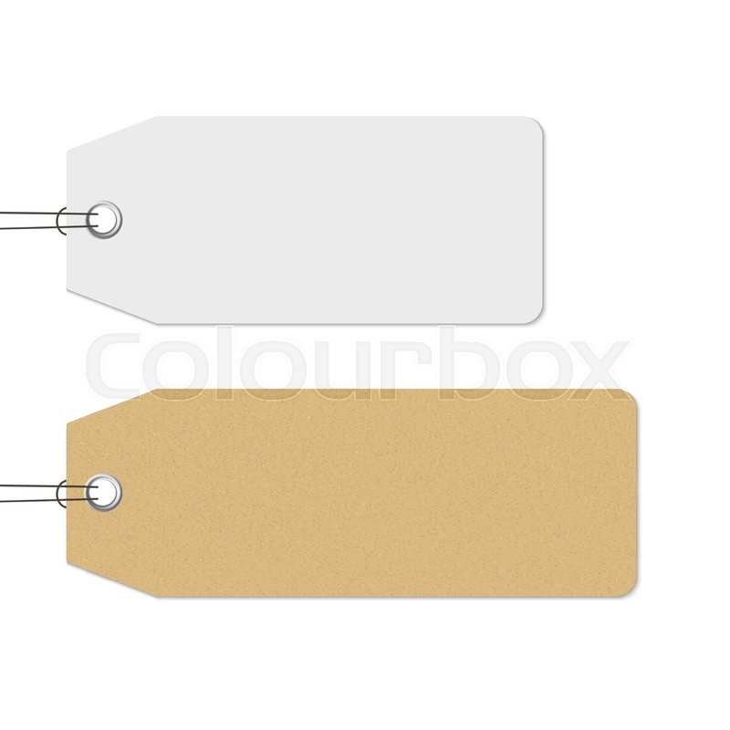 blank white and brown price tags hanging realistic vector craft
