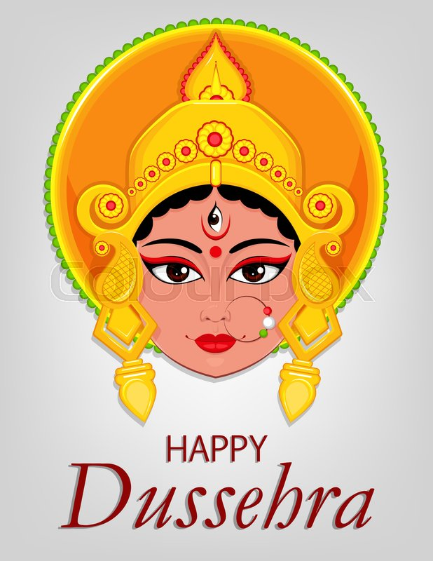 Happy dussehra greeting card maa durga face for hindu festival happy dussehra greeting card maa durga face for hindu festival vector illustration on light grey background stock vector colourbox m4hsunfo