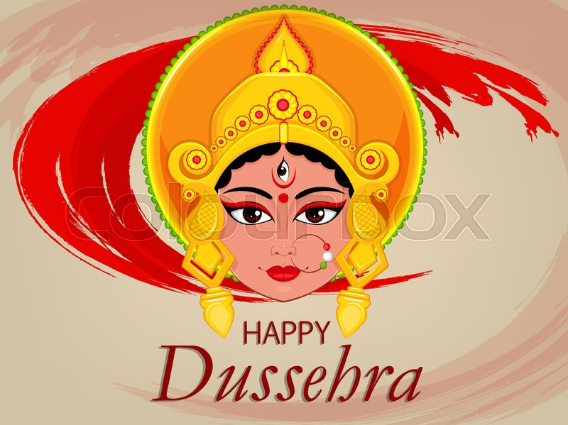 Happy dussehra greeting card maa durga face for hindu festival happy dussehra greeting card maa durga face for hindu festival vector illustration on abstract red background stock vector colourbox m4hsunfo