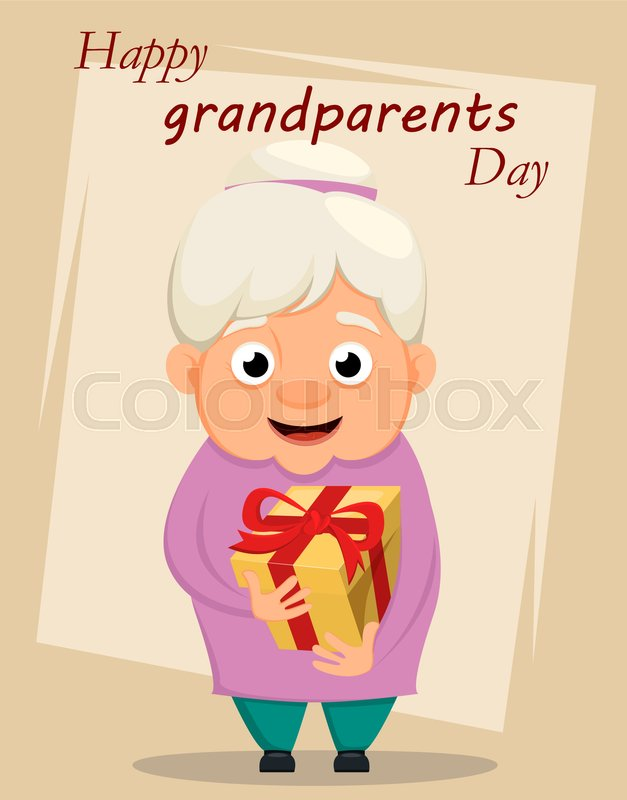 Grandparents day greeting card grandmother holding gift box vector grandparents day greeting card grandmother holding gift box vector illustration stock vector colourbox m4hsunfo