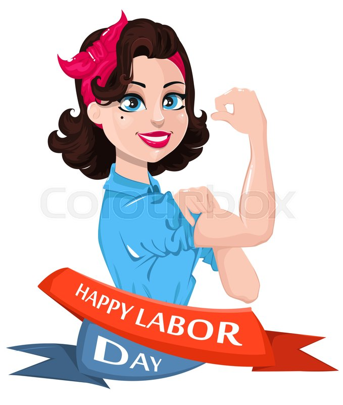 Labor Day Poster Pop Art Strong Woman Symbol Of American Female