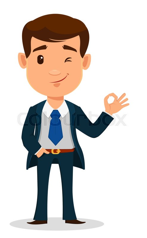business man cartoon character in smart clothes office style young rh colourbox com cartoon man standing in suit cartoon man in suit and tie