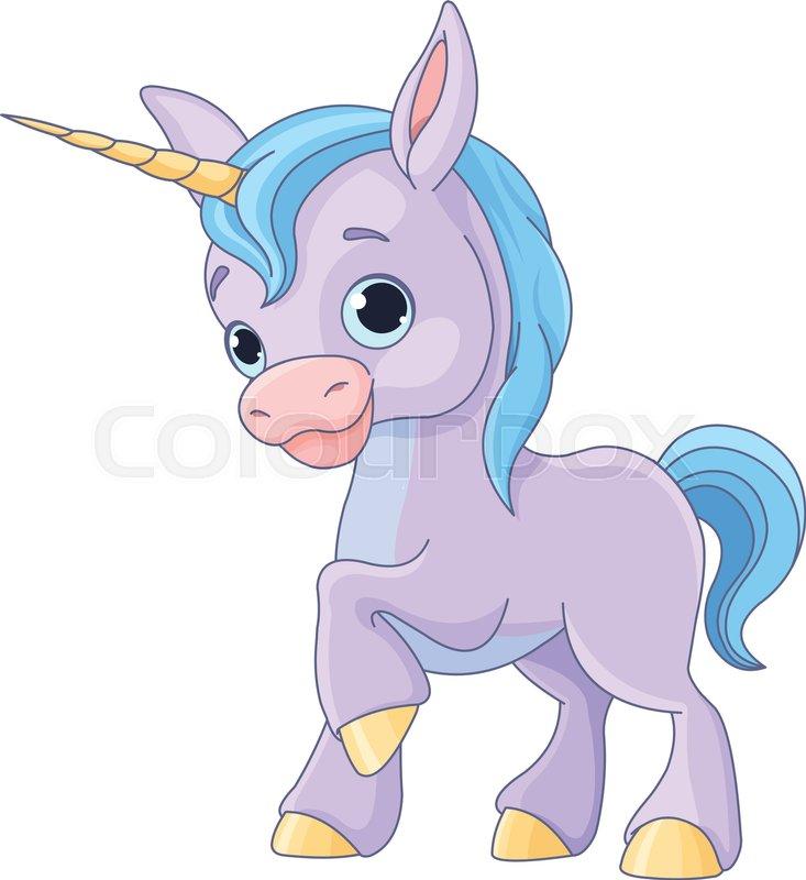 Illustration Of Cute Baby Unicorn Vector