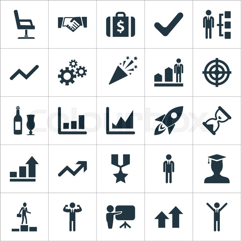 Elements Leader Goal Chair And Other Synonyms Hero Career And Handshake. Vector Illustration Set Of Simple Trophy Icons.   Stock Vector   Colourbox  sc 1 st  Colourbox & Elements Leader Goal Chair And Other Synonyms Hero Career And ...