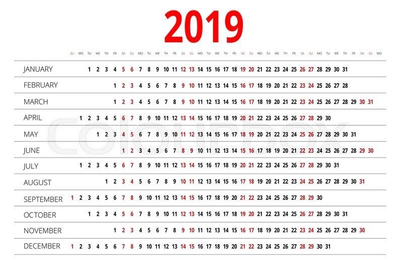2019 calendar print template week starts sunday portrait orientation set of 12 months planner for 2019 year vector