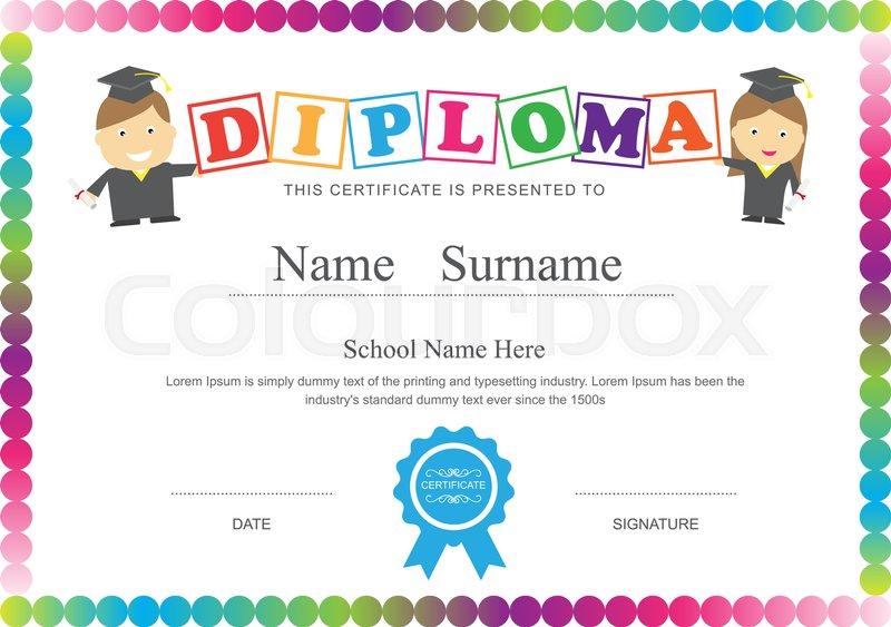 preschool kids diploma certificate design template background stock vector colourbox