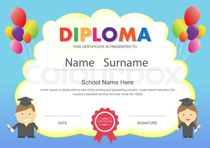 preschool kids elementary school diploma certificate design template background stock vector colourbox