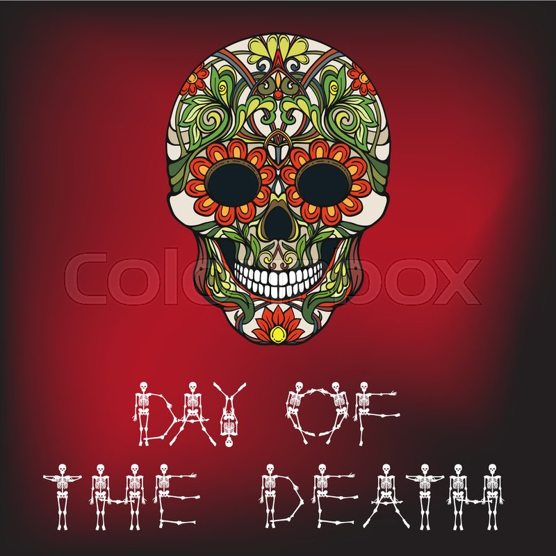 Day Of The Death Banner With Sugar Skull The Traditional Symbol Of