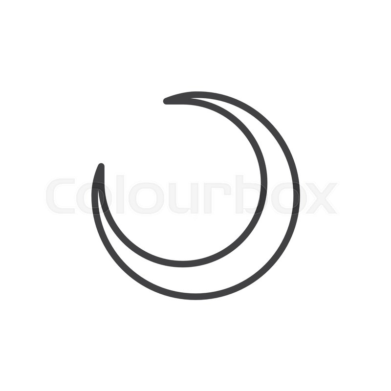 Crescent Moon Line Icon Outline Vector Sign Linear Style Pictogram