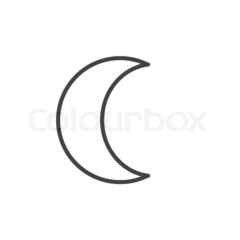 Moon symbol line icon, outline vector     | Stock vector