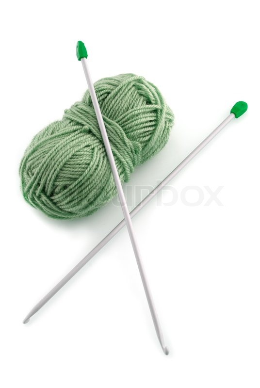 Knitting Needles And Wool : Green ball knitting wool or yarn with silver