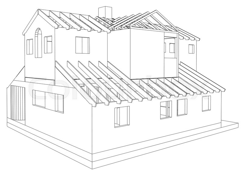 House Drawing In Vector. The Contours Of The House. Vector Created Of 3d.    Stock Vector   Colourbox