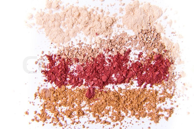 Makeup powder in three colors on white background : Stock Photo ...