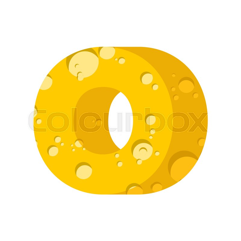 Letter O Cheese Font Symbol Of Cheesy Alphabet Dairy Food Type