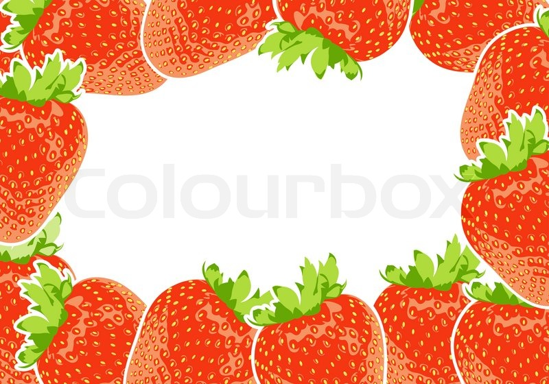 Vector frame group of yummy strawberry | Stock Vector | Colourbox